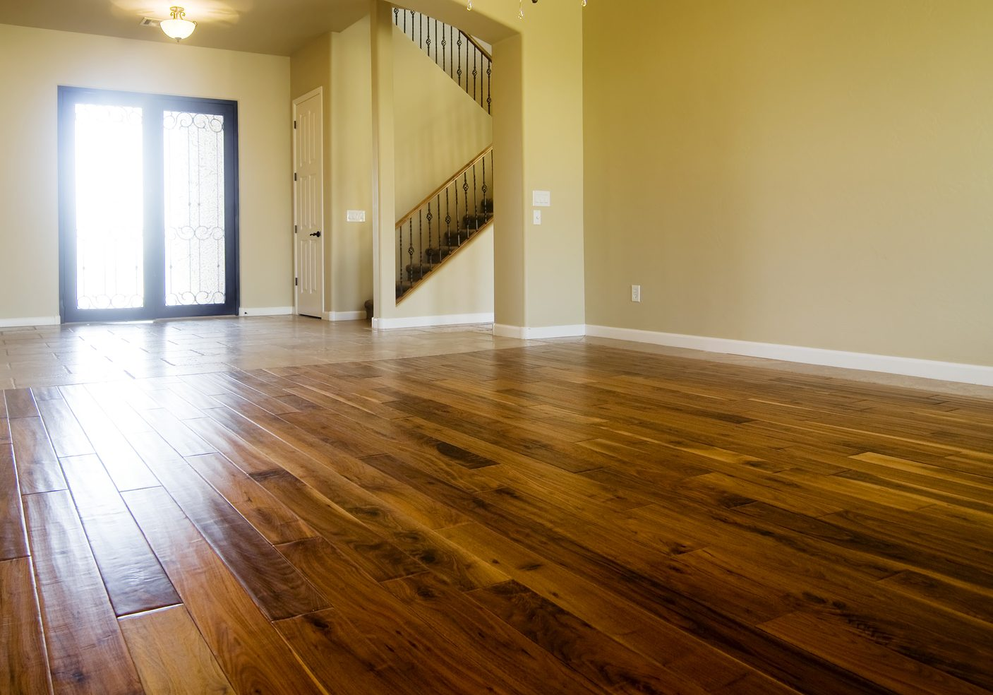 New home with beautiful hardwood flooring in living room area